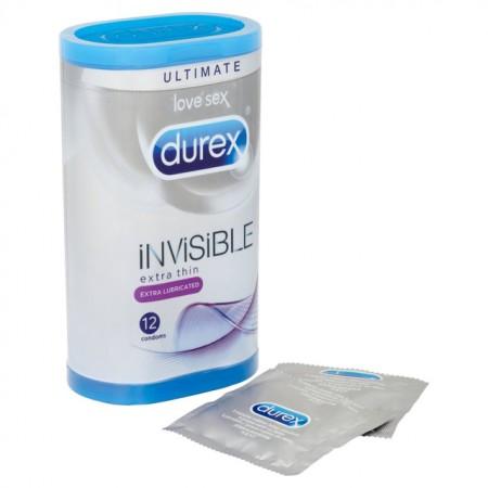 Durex Invisible Extra Lubricated 12 Pack Condoms