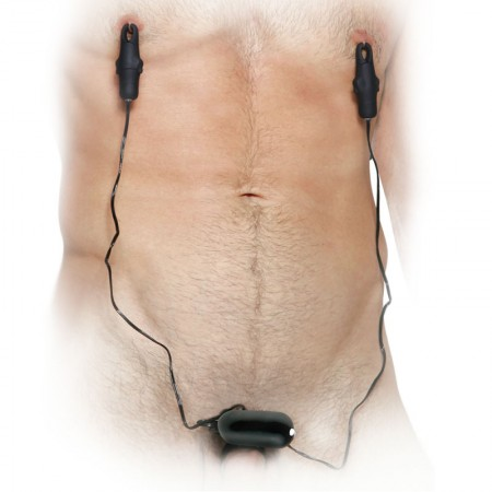 Fetish Fantasy Series Vibrating Cockring With Nipple Clamps